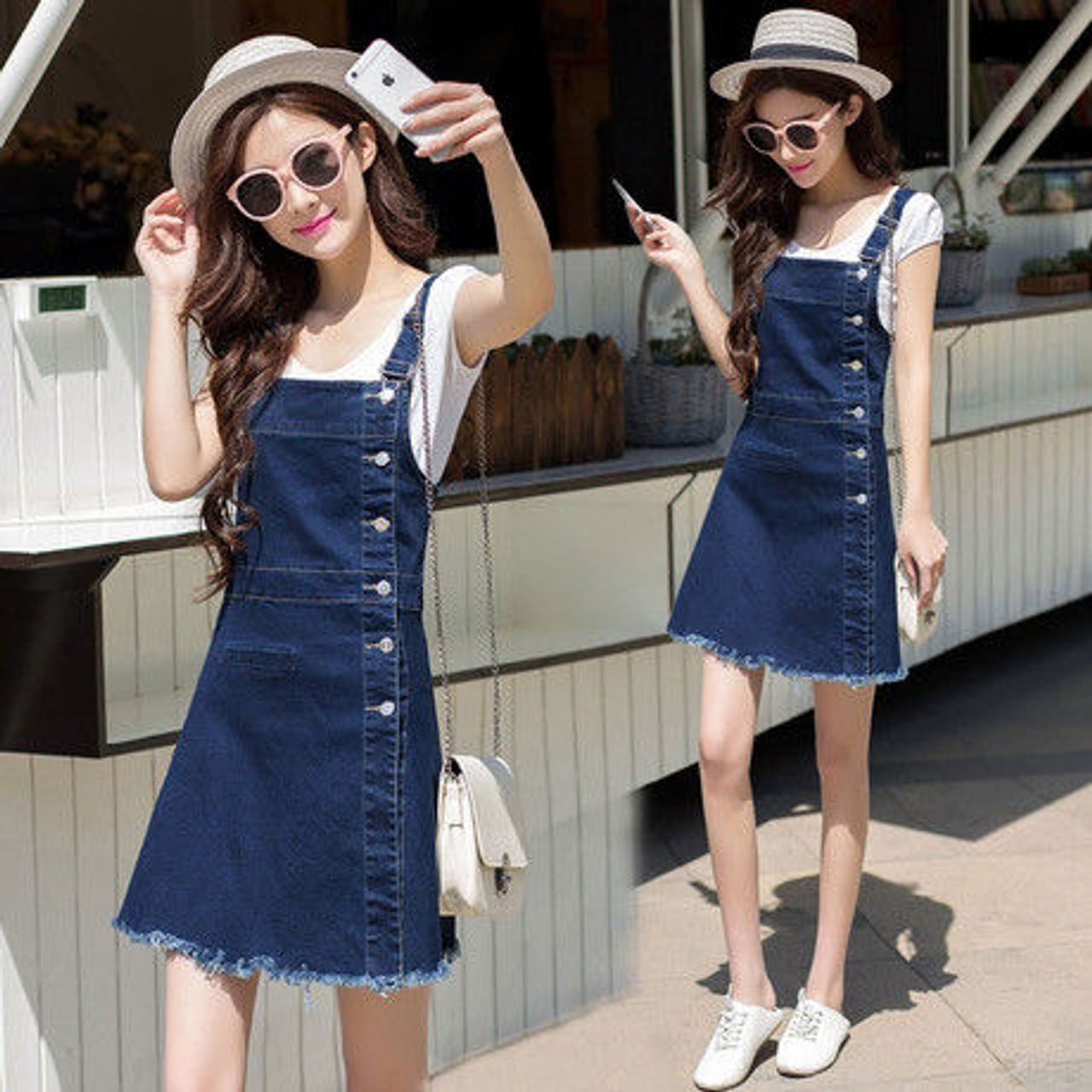 Đầm Jean Yếm Phối Nút Thời Trang - giá sỉ, giá tốt